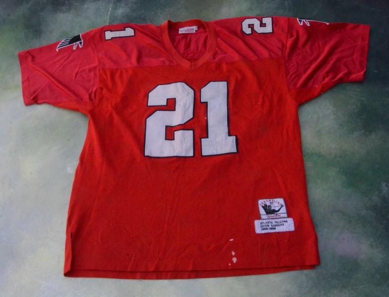 on sale d0d9e a6098 Details about Mitchell & Ness NFL Atlanta Falcons Deion Sanders #21 Jersey  Size 54.