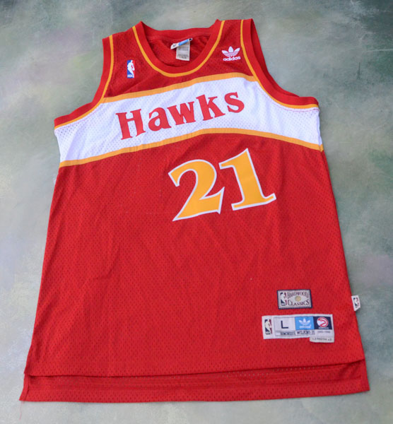 8afb68525 Details about Vintage Adidas NBA Atlanta Hawks Dominique Wilkins  21 Jersey  Size L.